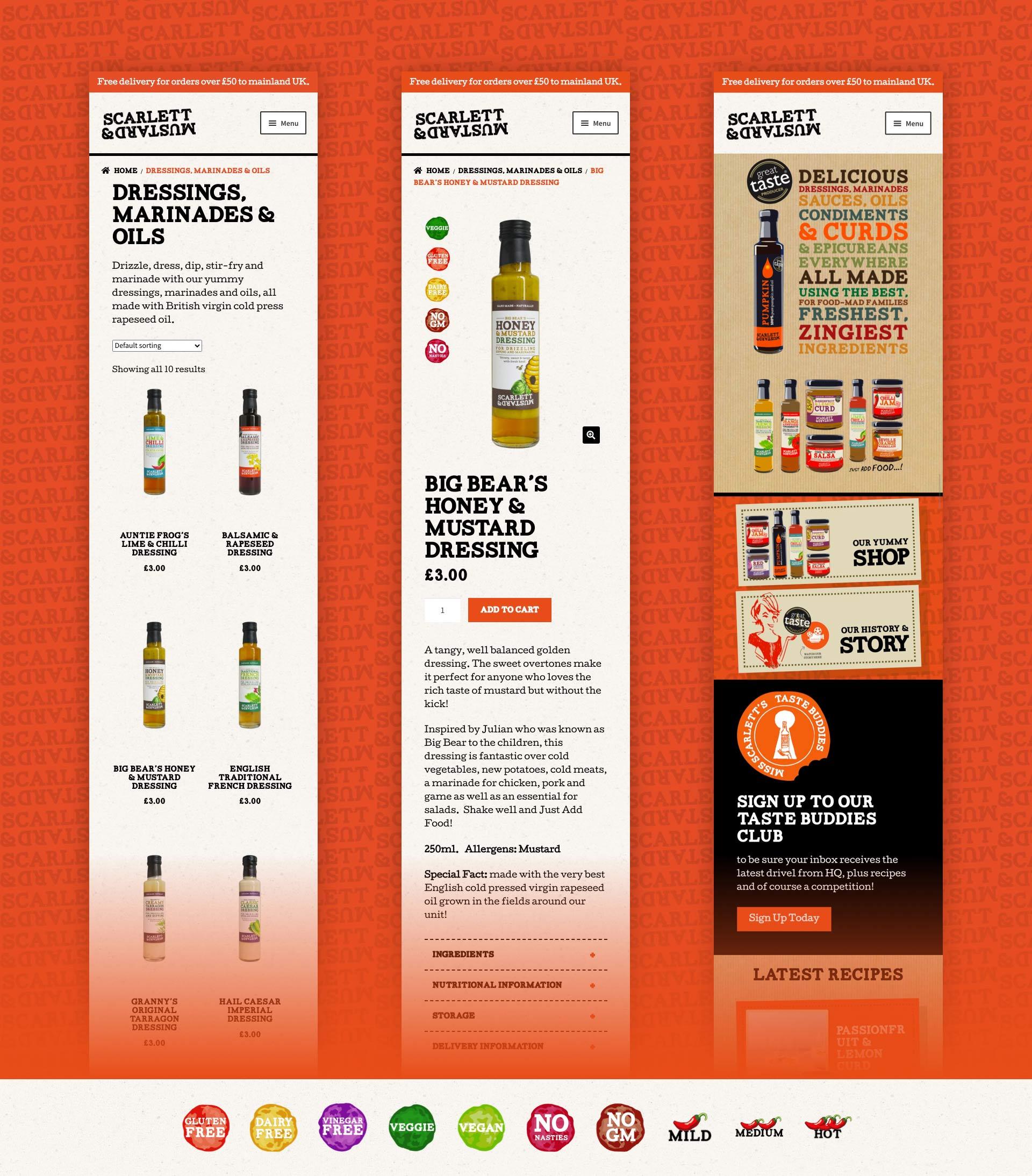 Scarlett & Mustard Mobile Website Design