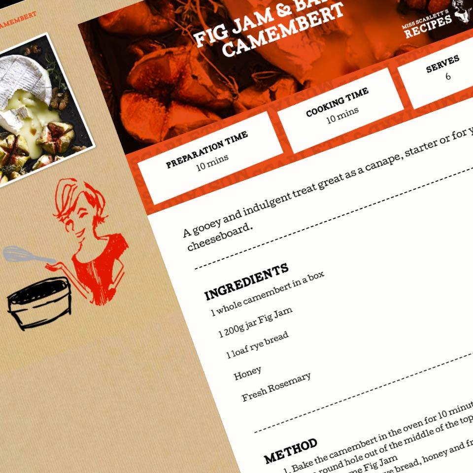 scarlett and mustard recipe page website design
