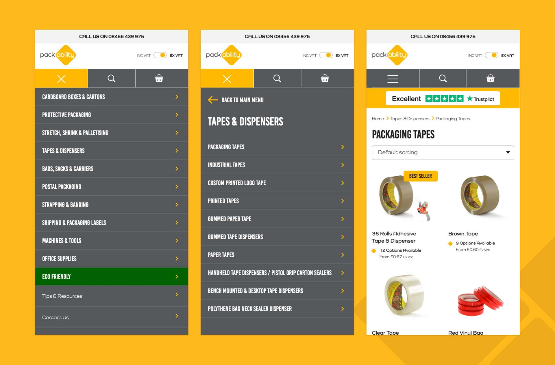 packability menu and product page
