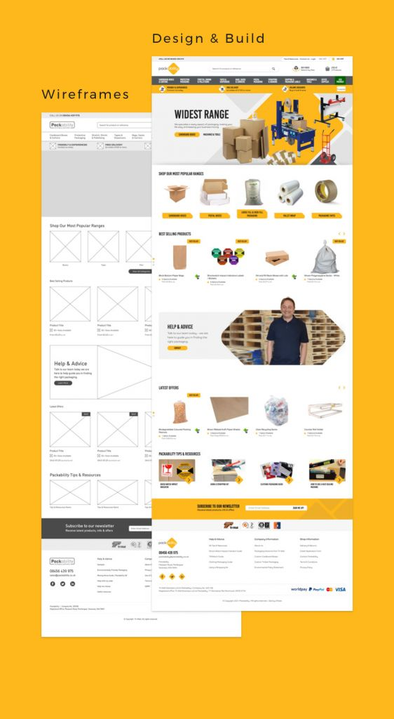 packability wireframes to design and build