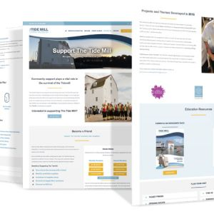 Three example pages from the Woodbridge Tide Mill's New Website